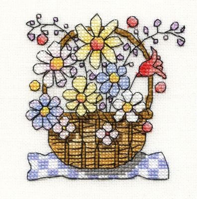 mini basket with flowers